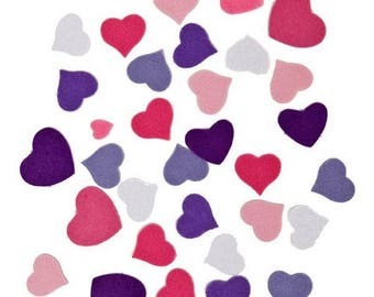 Decal - toned purple/pink heart - felt x 20 gr.