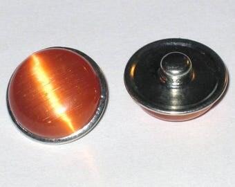 Orange 18mm button snap chunk glass Tiger eye