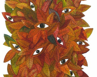 Leaves red eye drawing / pen and ink