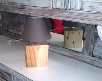 Upcycled wooden lamp ' sold without shades.