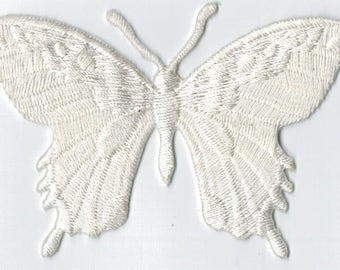 Off White Butterfly embroidered iron or sew patch. Applique Patch 7.5 x 5.5 cm