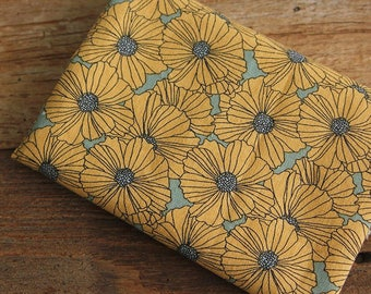 Yellow Poppy floral 100% Cotton Fabric BY HALF YARD / Poppies flowers flower / quilting /  free shipping / Ykfabrics HB01+
