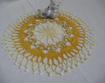 Shades of yellow handmade lace doily
