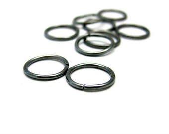 set of 5 large black metal rings