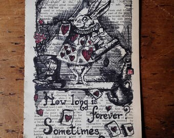 Old dictionary page with vintage Alice in Wonderland subject and quote