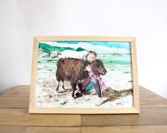 Watercolor painting, Peruvian child portrait in the mountains