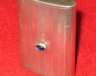 German 900 silver vesta match holder with blue sapphire button circa 1900