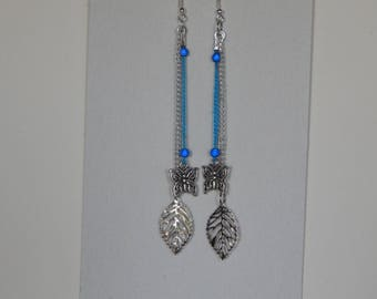 Blue and silver with butterfly and leaf dangle earrings