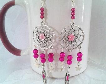 Dreamcatchers fuchsia earrings