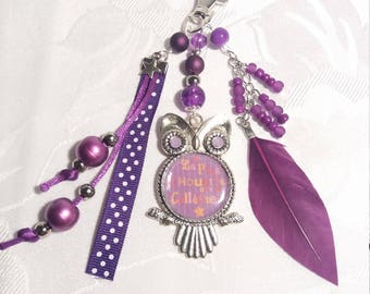 """Key ring or """"The OWL from co-workers"""" bag charm - purple - customizable - B32"""