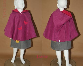 IMP - Fleece reversible Cape - 4 years - raspberry and hot pink