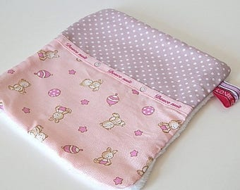 Blanket baby girl pink floral small bears, soft baby birth //cadeau //cadeau