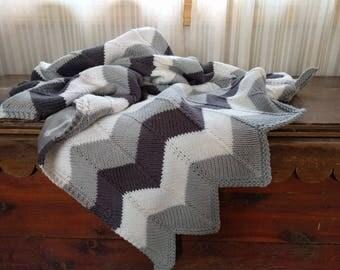 Custom Chevron Knit Baby Blanket