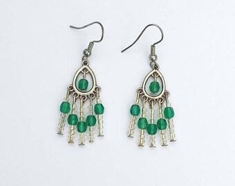 Earrings green transparent beads