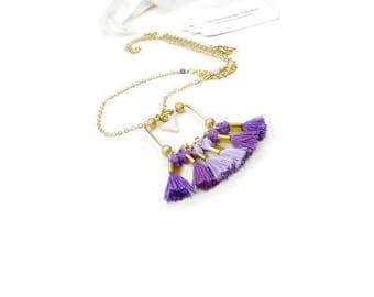 Purple Purple Purple pendant on gold chain necklace