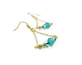 Lightweight earrings on silver chain in triangle and Peacock Blue Crystal iridescent