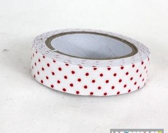 masking tape 15 mm cotton red white polka dots
