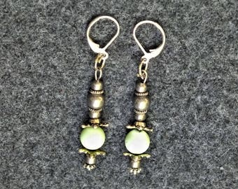 Vibrant Lime Green Classic Style Dangle Earrings - Lime Green Riverstone