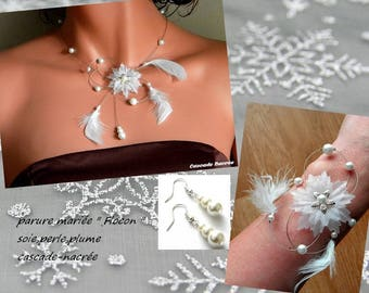 Snowflake aluminum silver Pearl wedding jewelry bridal white feather adornment