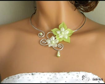 Necklace jewelry plum aluminium bead wedding silk flower bridal ivory lime green