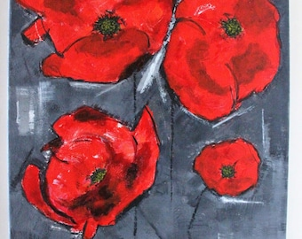 SOLD - Red flowers table 1 - figuratively 41x33cm