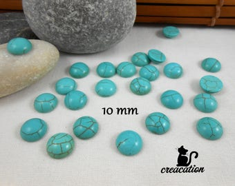 5 cabochon howlite turquoise 10mm round