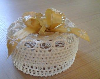 ecru cotton crocheted basket