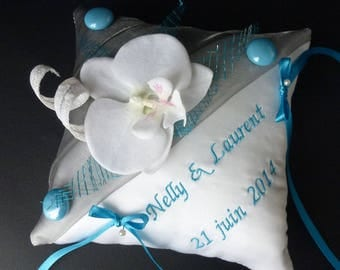 Custom turquoise and white Orchid cushion