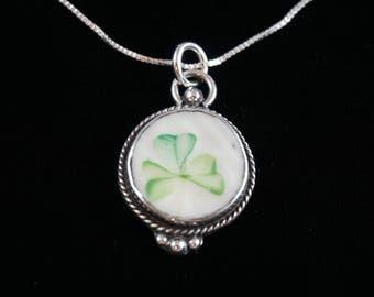 Belleek shamrock pendant and chain