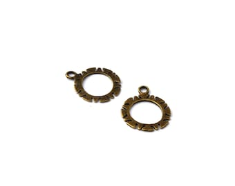 2 charms rings 19mm metal bronze