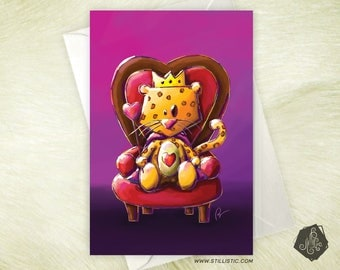 Lepoard King of hearts love Valentine greeting card