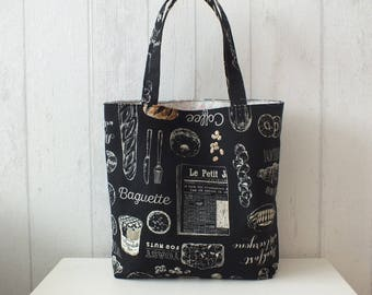 "Handbag / Tote bag in linen and cotton Japanese atmosphere ""bakery""."