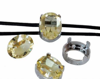 Swarovski Fancy Stone and double Support 4128 cords - 10x8mm - Daffodil and silver rhodium plated