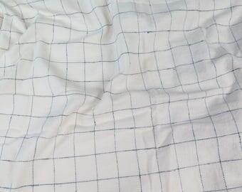 Japanese Ecru/Navy Window Pane Fabric