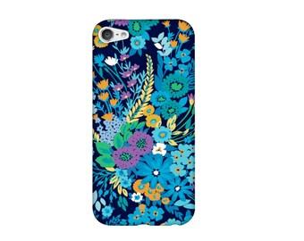 Case for iPhone 4 4s 5 5s 5SE, 5 c 6, 6, 6s, 6s + 7, 7 flower Navy