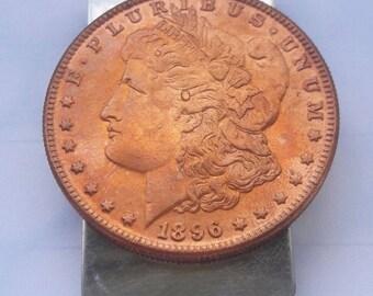 U.S.Morgan Dollar pure copper 1896 Money Clip Hand made
