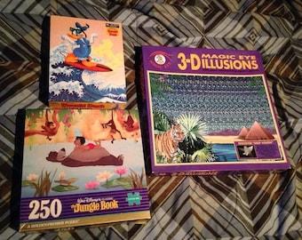 3 x 550pc MagicEye, 100pc Donald Duck, 250pc Jungle Book 1990s CIB Puzzles *Look