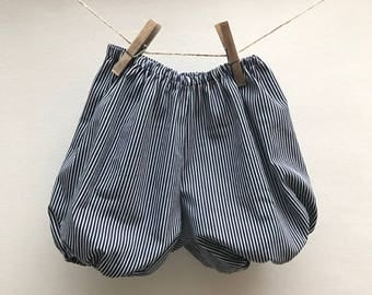 Navy Blue striped baby bloomers and white