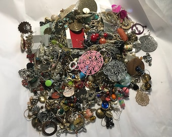 Mixed jewelry AA10, earring lot, vintage to now, dangles, studs, craft supply lot, wear, resell, repurpose