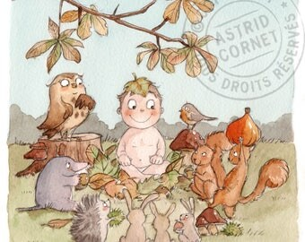 100 invitations birth 'autumn' with square envelopes