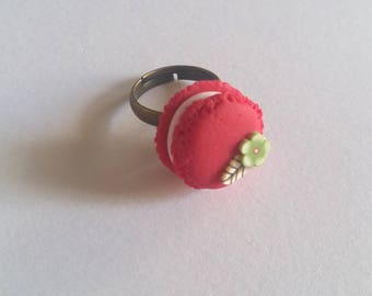 macaroon ring pink red fruit