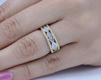 Gold Over Sterling Silver CZ Eternity Engagement Ring Wedding Band Sz 3-12 S3577
