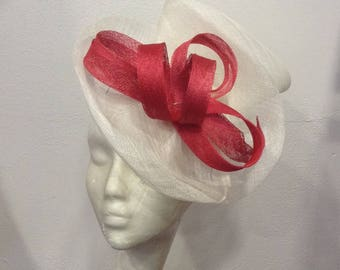 Red and off white ceremony fascinator shape double scrolls