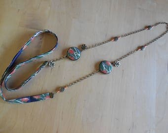 Japanese green and orange fabric necklace, beads and fabric cabochons