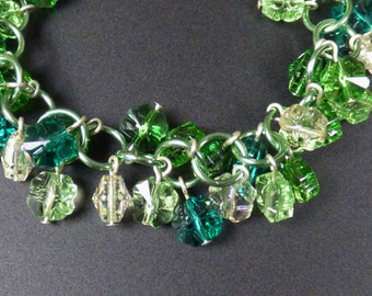 Shaggy Crystal Clover Chainmaille Bracelet