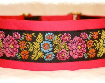 Dog collar Jacquard ribbon with an unique colourful flowery design @Glittering meadow@ in the most elegant style