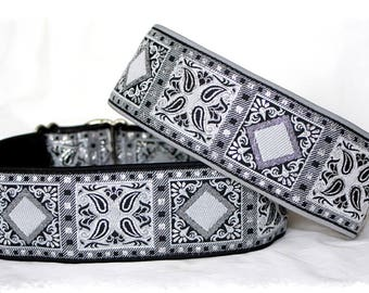 Dog collar >Snow flake crystals>Jacquard ribbon in unique geometric modern elegant style