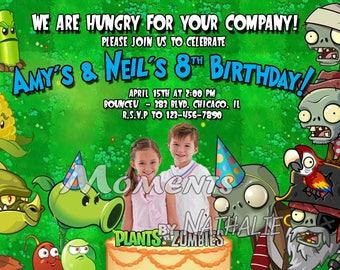 Plants vs Zombies Custom Photo Birthday Party Invitations