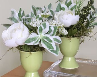 small green and white faux flower arrangements,set of two,green ceramic containers w/ white and green artificial flowers,white silk flowers