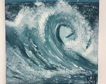 THE WAVE // Original Acrylic Wave Painting On Canvas